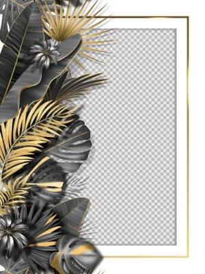 Vinilo Palm leaves and luxurious frame in black gold color. Tropical leaf illustration on transparent background. Vector illustration for cover, photo frame, invitation, souvenir design.