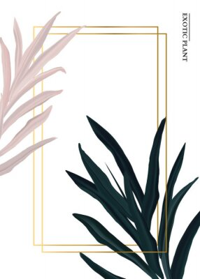 Vinilo Palm pink and green in pastel colors, soft foliage leaves hand drawn doodle graphics background, nature wedding botanical decoration. Tender 3d realistic design with gold luxury elemets