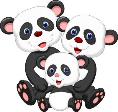 Vinilo Panda oso de dibujos animados de la familia