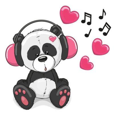 Vinilo Panda with headphones