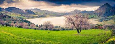 Vinilo Panorama colorido de la mañana del lago Rosamarina