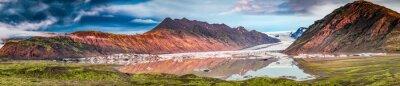 Vinilo Panorama de hermoso glaciar y lago al amanecer en Islandia