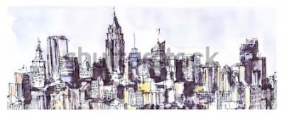 Vinilo Panorama de la ciudad de nueva york. Acuarela, tinta gráfica. Arquitectura