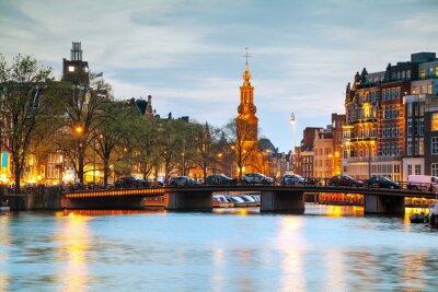 Vinilo Panorámica de Amsterdam con Munttoren