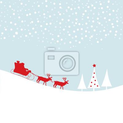Vinilo Papá Noel con el trineo