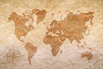 Vinilo papel de la vendimia con el mapa mundial