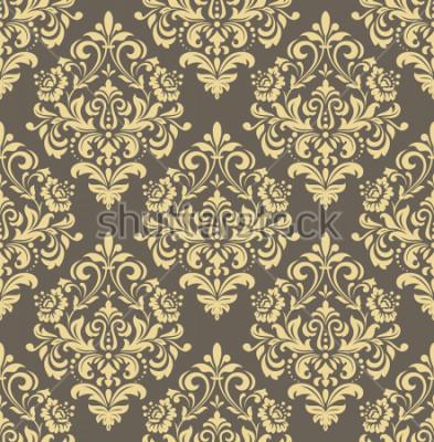 Vinilo Papel pintado al estilo del barroco. Fondo sin fisuras Adorno floral dorado y gris. Patrón gráfico para tela, papel pintado, embalaje. Ornamento adornado de la flor del damasco