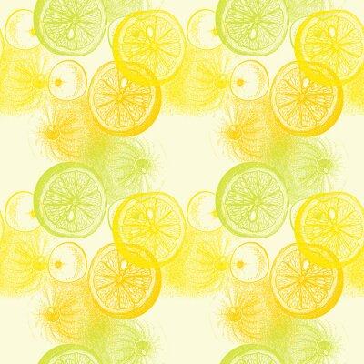 Vinilo Papel tapiz patrón transparente con naranjas mano dibujado cítricos. Dibujar