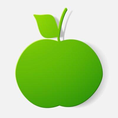 Vinilo Paper clipped sticker: fruit, apple