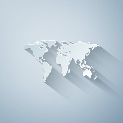 Vinilo Paper cut World map icon isolated on grey background. Paper art style. Vector Illustration