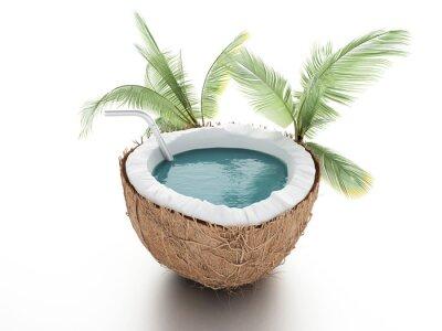 Vinilo paraíso de coco. el concepto de verano sobre fondo blanco