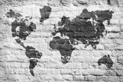 Vinilo Pared blanca y un mapa de la imagen del mundo