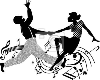 Pareja bailando rock and roll en blanco y negro vinilos para ...