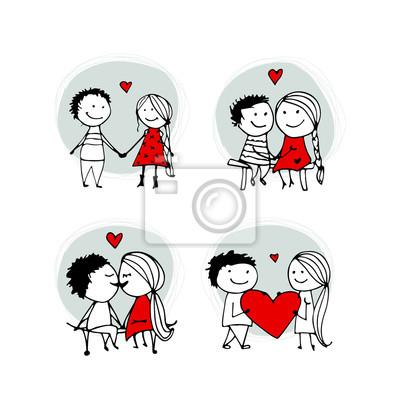 Pareja En Besos De Amor Dibujo De San Valentín Para Su Diseño