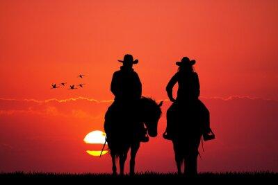 Vinilo pareja en la silueta del caballo