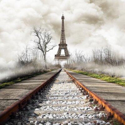 Vinilo Parigi en treno vendimia