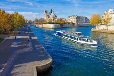 Vinilo París, la sena y Notre-Dame vu du pont de la Tournelle