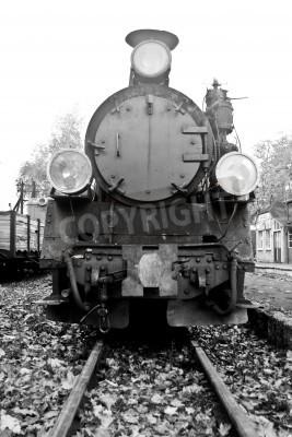 Vinilo parte del antiguo tren de vapor en blanco y negro