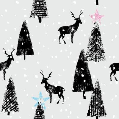 Vinilo parte del bosque del invierno dibujado patrón de moda