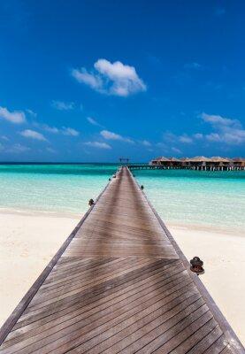 Vinilo Paseo marítimo a la laguna en las Maldivas