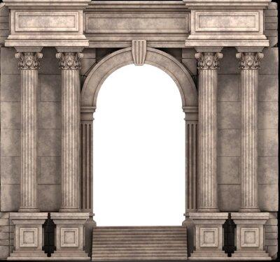 Vinilo Pasos de piedra y el modo de entrada con columnas corintias. 3d.
