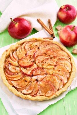 Vinilo Pastel de manzana de frutas en papel de hornear