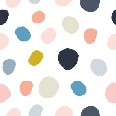 Vinilo Pastel en polvo rosa, azul marino, salmón, beige, gris acuarela pintada a mano de lunares de patrones sin fisuras sobre fondo blanco. Círculos de tinta acrílica, confeti textura redonda. Vector abstra