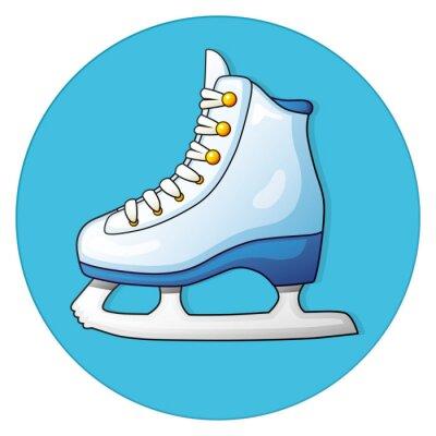Vinilo Patín de hielo blanco sobre un fondo azul, icono redondo.