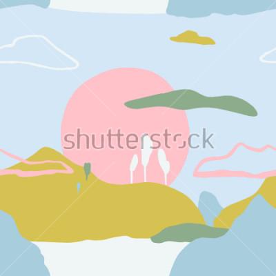Vinilo Patrón abstracto con puesta de sol en las montañas. Textura artística de la naturaleza artística contemporánea. Ideas de diseño listas para póster, tarjetas de moda, invitaciones, carteles, folletos,