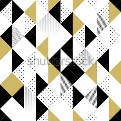Vinilo Patrón abstracto sin fisuras Patrón sin fisuras con triángulos. Patrón triángulo oro blanco y negro. Ilustración vectorial