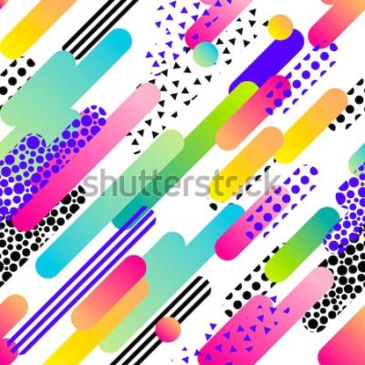 Vinilo Patrón abstracto vector transparente para niñas, niños, ropa. Fondo creativo con puntos, figuras geométricas Fondo de pantalla divertido para textiles y telas. Estilo de moda. Colorido brillante