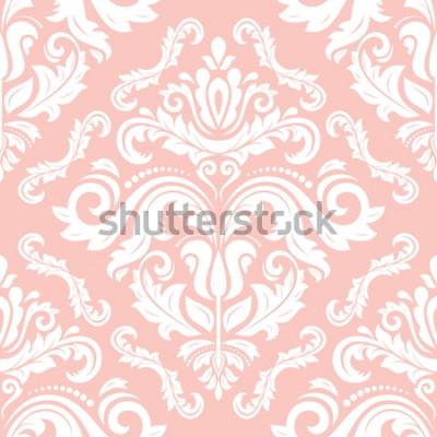 Vinilo Patrón clásico de vector oriental. Fondo abstracto sin fisuras con elementos repetitivos. Patrón rosa y blanco