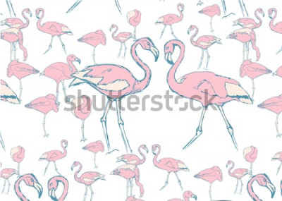 Vinilo patrón con flamencos rosados en el agua en diferentes poses y dos flamencos con cuello en forma de corazón