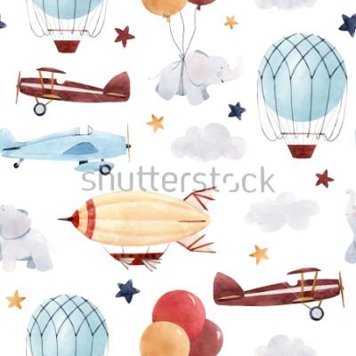 Vinilo Patrón de acuarela de niños lindos Papel pintado para un niño, un cielo estrellado con un aerostato, dirigible y aviones, elefantes y globos.