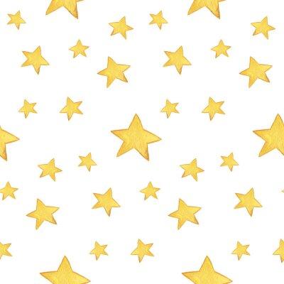 Vinilo Patrón de acuarela transparente: Feliz Navidad, estrellas de color amarillo