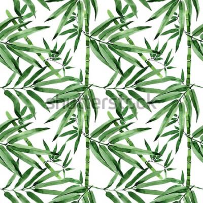 Vinilo Patrón de árbol de bambú de hojas tropicales en un estilo de acuarela. Acuarelas de hojas silvestres para fondo, textura, patrón de envoltura, marco o borde.