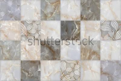 Vinilo Patrón de bloques de piedra de mármol abstracto