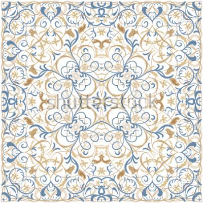 Vinilo Patrón de color brillante en estilo oriental. Adorno cuadrado para chales, bufandas o almohada. Se puede utilizar para imprimir sobre tela o papel. Ilustracion vectorial