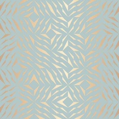 Vinilo Patrón de elemento geométrico de oro sin costuras vectoriales. Resumen textura de cobre de fondo en verde azul. Impresión gráfica minimalista simple. Red de enrejado de turquesa moderna. Geometría sag