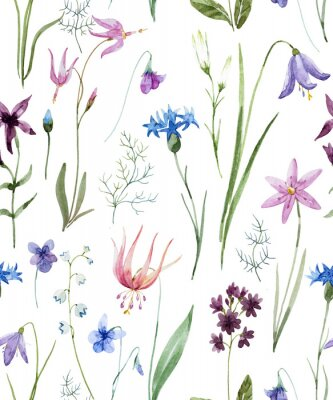 Vinilo Patrón de flores silvestres de acuarela