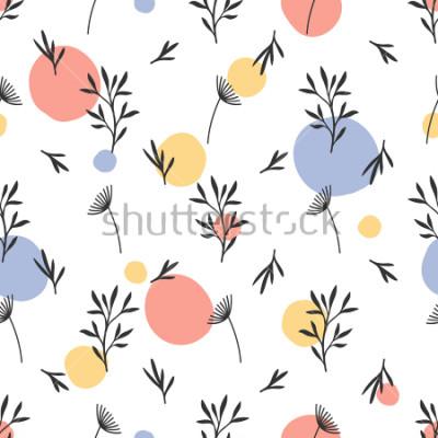 Vinilo Patrón de flores sin fisuras Ornamento botánico plano con elementos de la naturaleza handdrawn y puntos. Textura simple de repetición. Textil original moderno, papel de regalo, diseño de interiores. V