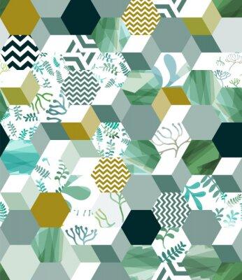 Vinilo Patrón de fondo transparente de moda con azulejos del hexágono en verde, eps10