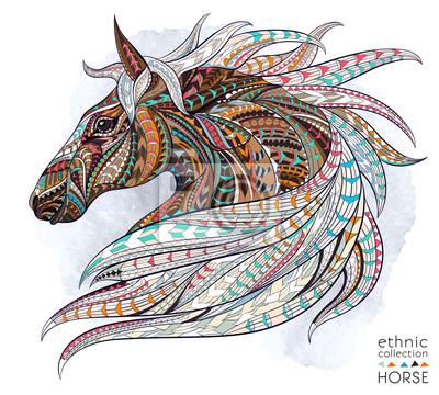 Vinilo Patrón de la cabeza del caballo en el fondo del grunge. Diseño africano / del indio / del tótem / del tatuaje. Puede ser utilizado para el diseño de una camiseta, bolso, postal, un cartel y así sucesi