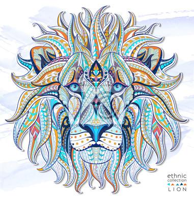 Vinilo Patrón de la cabeza del león en el fondo del grunge. Diseño africano / del indio / del tótem / del tatuaje. Puede ser utilizado para el diseño de una camiseta, bolso, postal, un cartel y así sucesivam
