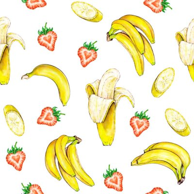 Vinilo Patrón de la fruta. Frutas Perfecta textura de plátano y fresa sobre un fondo blanco. Ilustración de la acuarela. Trabajo hecho a mano