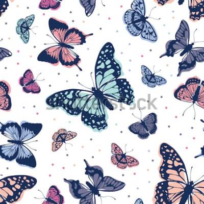 Vinilo Patrón de mariposas de vector. Resumen de antecedentes sin fisuras.