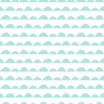 Vinilo Patrón de menta sin fisuras escandinavo en estilo dibujado a mano. Hileras estilizadas de la colina. Wave patrón simple para tejidos, textiles y ropa de bebé.