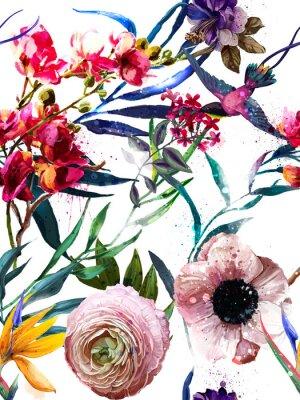 Vinilo patrón de moda floral exótico sin costuras