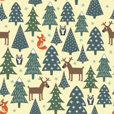 Vinilo Patrón de Navidad transparente - variados árboles de Navidad, casas, zorros, búhos y ciervos. Fondo de la Feliz Año Nuevo. Vector el diseño para las vacaciones de invierno. Ilustración de bosque de na