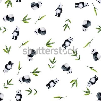 Vinilo Patrón de pandas y bambú sobre fondo blanco. Acuarela pintada a mano